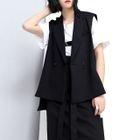 Dip-Back Padded-Shoulder Dress Vest 1596