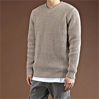 V-Neck Ribbed Knit Top 1055292474