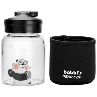 Image of Bear Printed Glass Drinking Bottle