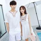 Patterned Split-neck Short-Sleeve T-shirt / Sleeveless Dress 1596