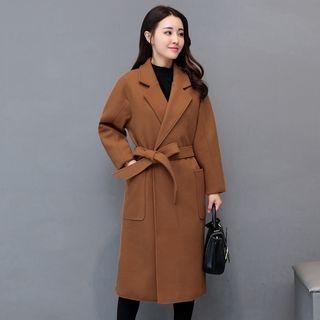 Notch Lapel Open-Front Coat with Sash 1062876684