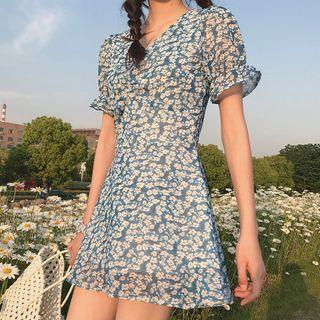Short-sleeve   Floral   Dress   Print   Blue   Mini   Size   One