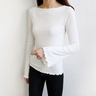 Boat-Neck Ribbed Top 1054328236