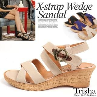 Picture of Trisha Ankle Strap Wedge Sandals 1022566617 (Sandals, Trisha Shoes, Korea Shoes, Womens Shoes, Womens Sandals)
