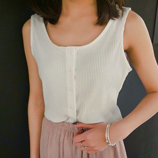 Button Down Ribbed Tank Top 1050668502