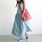 U-Neck Fringe-Hem Denim Maxi Tank Dress 1596