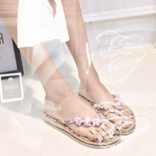 Flower Applique Flip-Flops 1059811580
