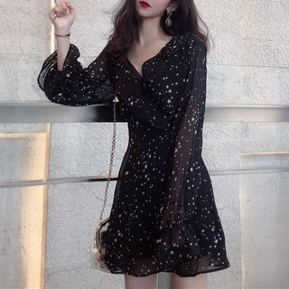 Long-sleeve | Chiffon | Dress | Print | Star | Mini
