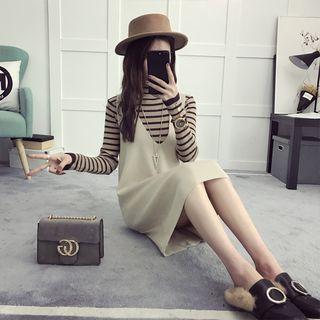 Set: Striped Long Sleeve Knit Top + Pinafore Knit Dress 1057406311