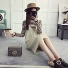 Set: Striped Long Sleeve Knit Top + Pinafore Knit Dress 1596
