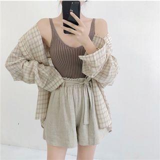 Check Long-Sleeve Shirt / Plain Knit Tank Top / High-Waist Shorts 1067898265