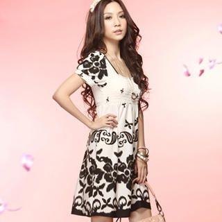 Buy Tokyo Fashion Short-Sleeve Smocked Print Dress 1022937361