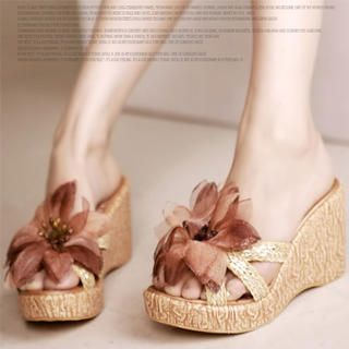 "Buy Kvoll Woven-Strap ""Corsage"" Wedges 1022987410"