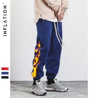 Flame-Print Jogger Pants