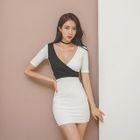Short-Sleeve Two-Tone Mini Bodycon Dress 1596