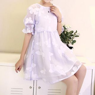 Short-Sleeve Butterfly Pattern Dress 1049338340