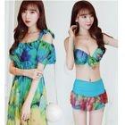 Set: Printed Bikini Top + Swim Skirt + Sundress 1596