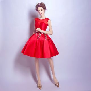 Image of Applique Sleeveless A-Line Cocktail Dress