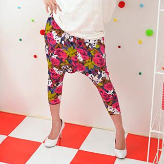 Picture of 59 Seconds Cropped Floral Print Harem Pants Magenta - One Size 1022445069 (Womens Cropped Pants, 59 Seconds Pants, Hong Kong Pants)
