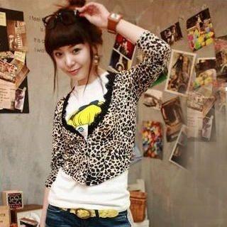 Buy SHY SHY Leopard Print Lace Hem Jacket Brown – One Size 1021064113