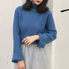 Ribbed Mock-neck Long-Sleeve Top 1596