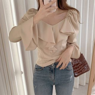 Image of Bell-Sleeve Ruffle Trim Plain Blouse