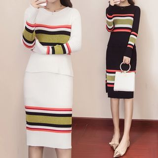 Set: Striped Knit Top + Knit Skirt 1063087213