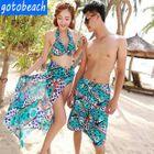 Couple Set: Leopard Print Bikini + Scarf / Swim Shorts 1596
