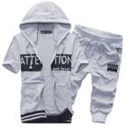 Set : Contrast Letter Short-Sleeve Hooded Jacket + Cropped Pants 1596