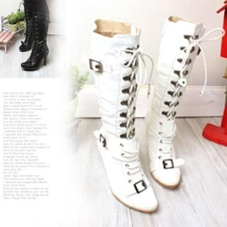 Buy Woorisin Faux-Leather Lace-Up Platform Boots 1021550903