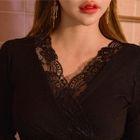 Lace-Trim Wrap-Front Knit Top 1596
