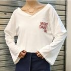 V-Neck Print Bell-Sleeve T-Shirt 1596