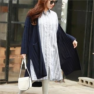 Open-Front Ribbed Long Cardigan 1064537365