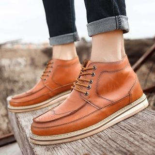 Genuine-Leather Lace-Up Chukka Boots