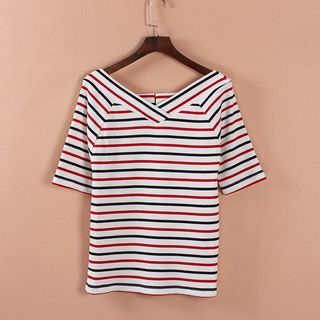 Striped V-Neck Elbow-Sleeve T-Shirt 1051502616