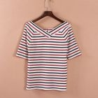 Striped V-Neck Elbow-Sleeve T-Shirt 1596