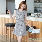 Short-Sleeve Tulle Panel Dotted Dress 1596