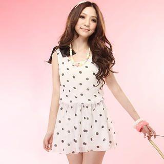 "Buy Tokyo Fashion Sleeveless ""Bow"" Polka Dot Chiffon Dress 1023027664"
