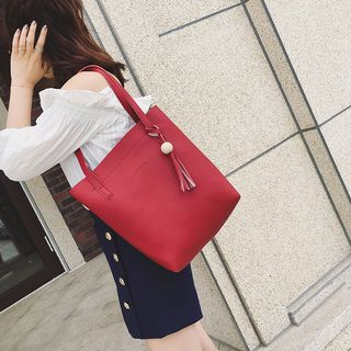 Set: Faux Leather Tote + Crossbody Bag + Zip Pouch 1063339309