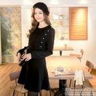 Lace-Panel A-Line Dress 1596
