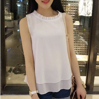 Ruffled Chiffon Tank Top