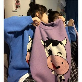 Cow Print Sweater