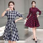Plaid Long-Sleeve A-line Dress 1596