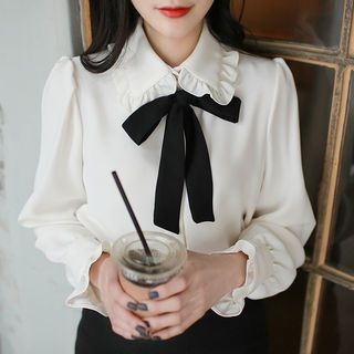 Image For Contrast Detachable-Ribbon Frill-Detail Blouse