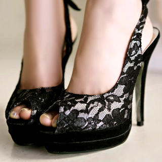 Buy Kvoll Lace Platform High Heels 1022653594
