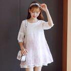 Maternity 3/4-Sleeve Layered Lace Dress 1596