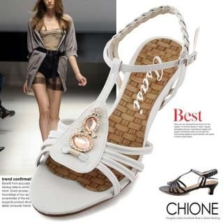 Buy Chione Bejeweled T-Strap Sandals 1022736579