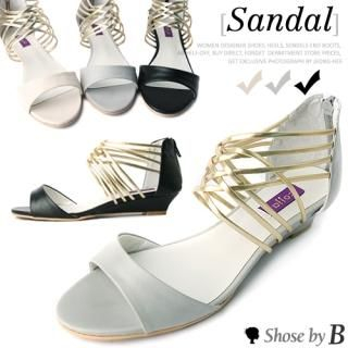 Buy Shoes by B Metallic Strappy Wedge Sandals 1022850731