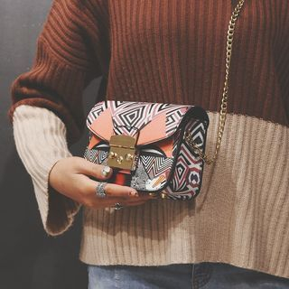 Patterned Chain Strap Crossbody Bag