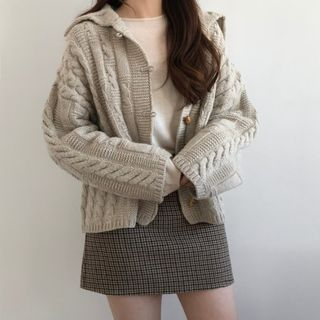 Image of Horn Button Cable Knit Cardigan